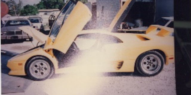 Frank Griga's yellow Lamborghini is shown in evidence photos.