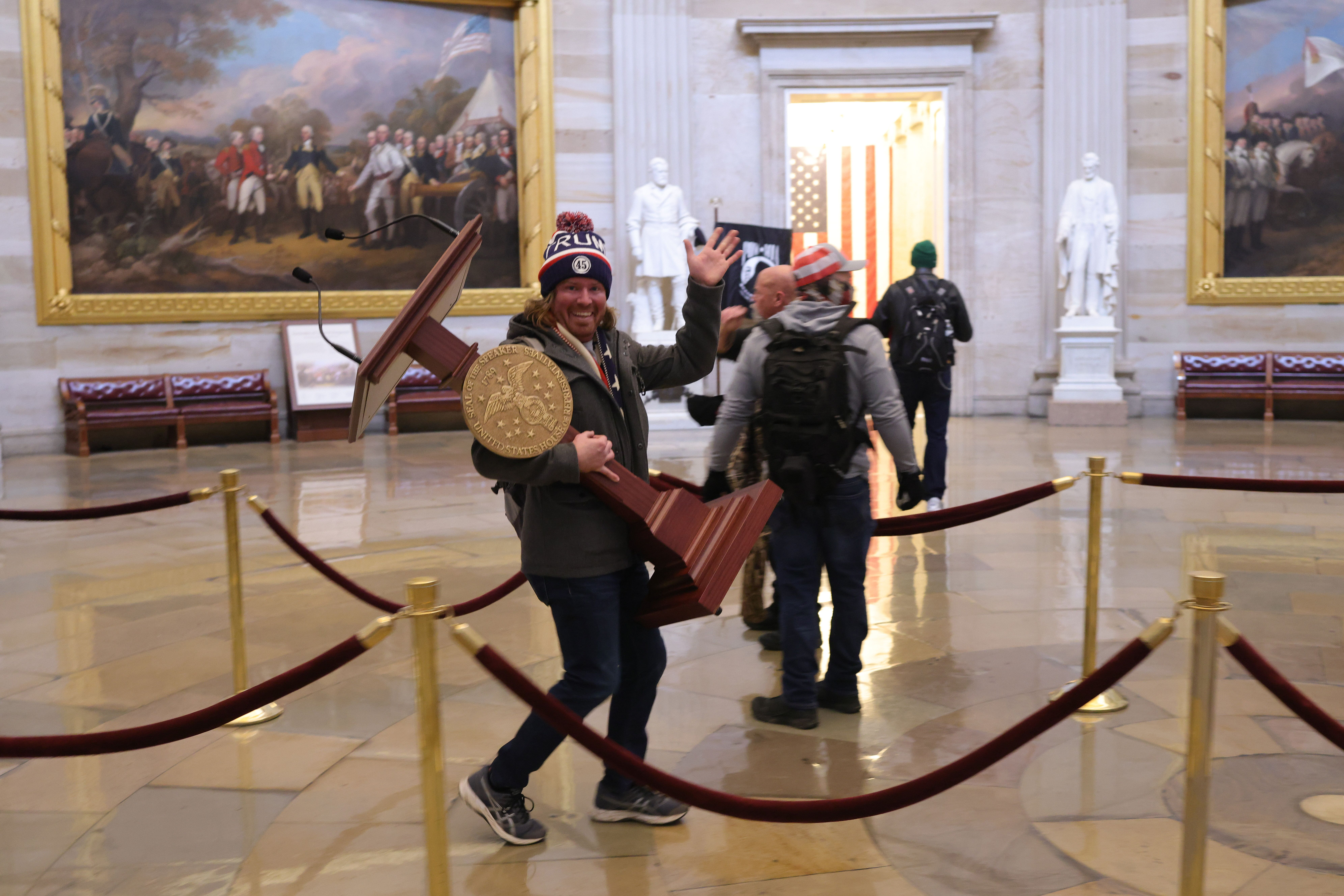 WASHINGTON, DC - JANUARY 06: Protesters enter the U.S. Capitol Building on January 06, 2021 in Washington, DC. Congress held