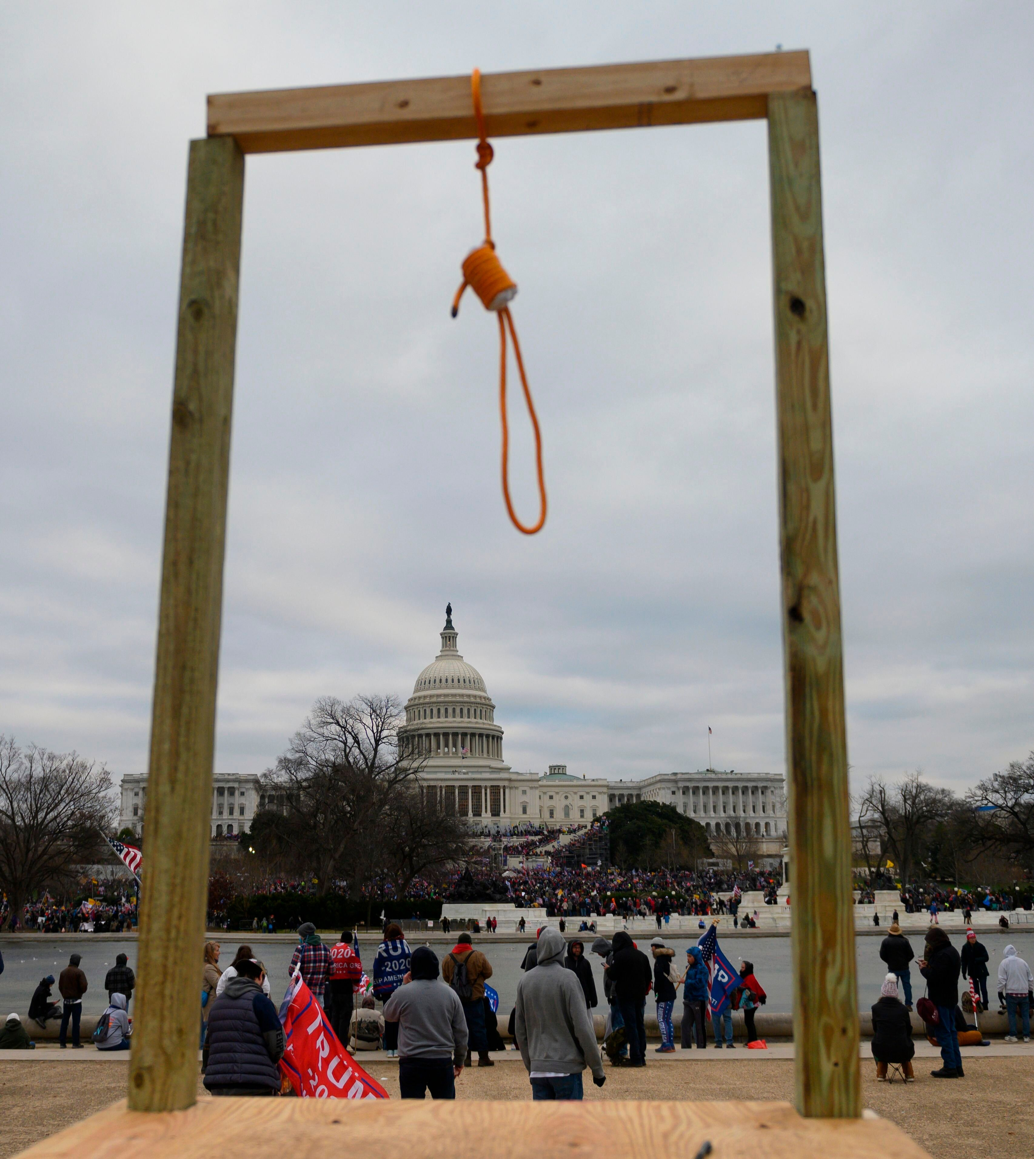 A noose on makeshift gallows outside the U.S. Capitol on Wednesday, whensupporters of President Donald Trump forced the