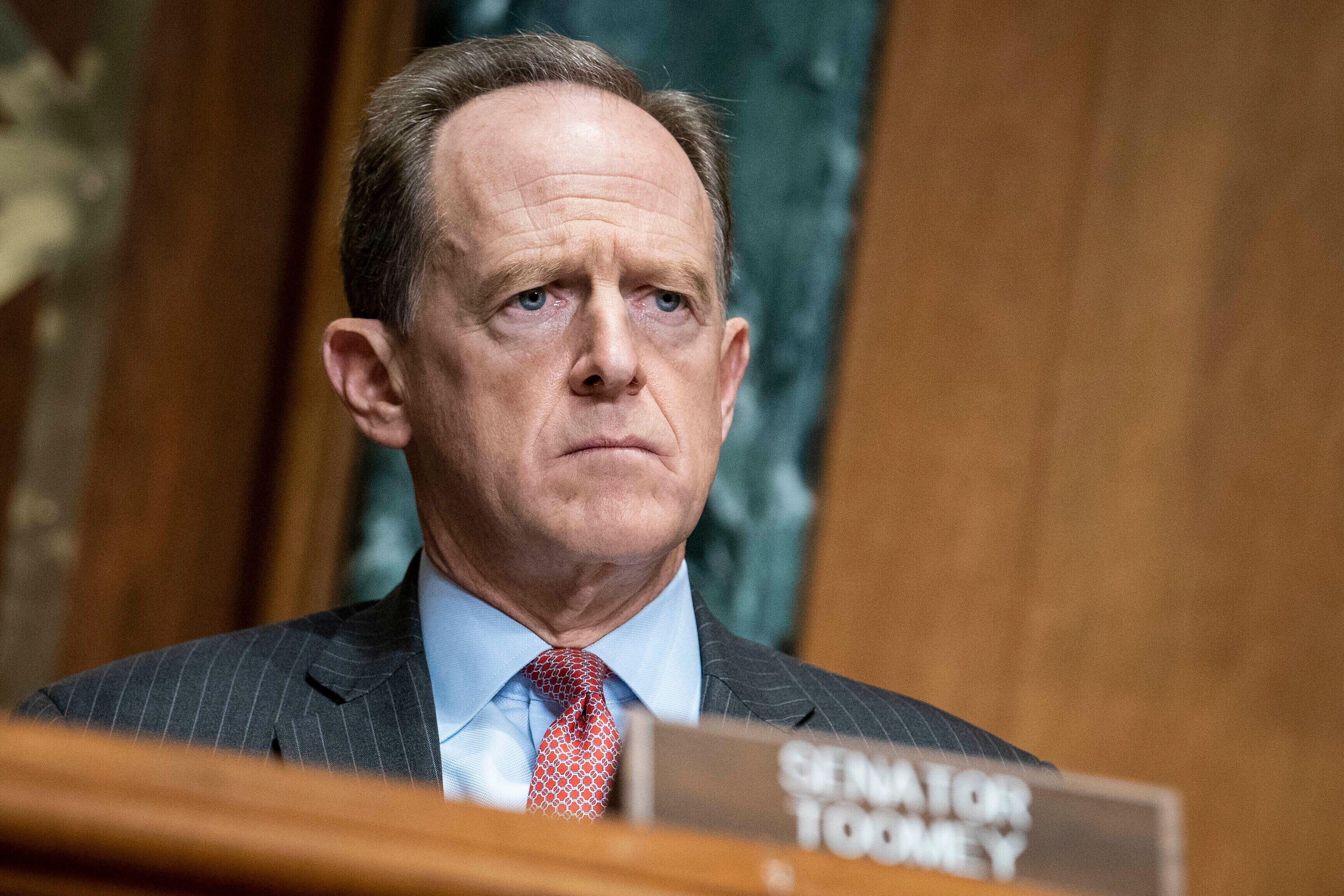 """Sen. Pat Toomey called on President Donald Trump to resign on Sunday, saying his recent behavior shows that he has """"spiraled"""