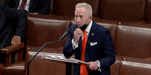 In this image from video, Rep. Jeff Van Drew, R-N.J., speaks as the House debates the objection to confirm the Electoral College vote from Pennsylvania, at the U.S. Capitol early Thursday, Jan. 7, 2021. (House Television via AP)