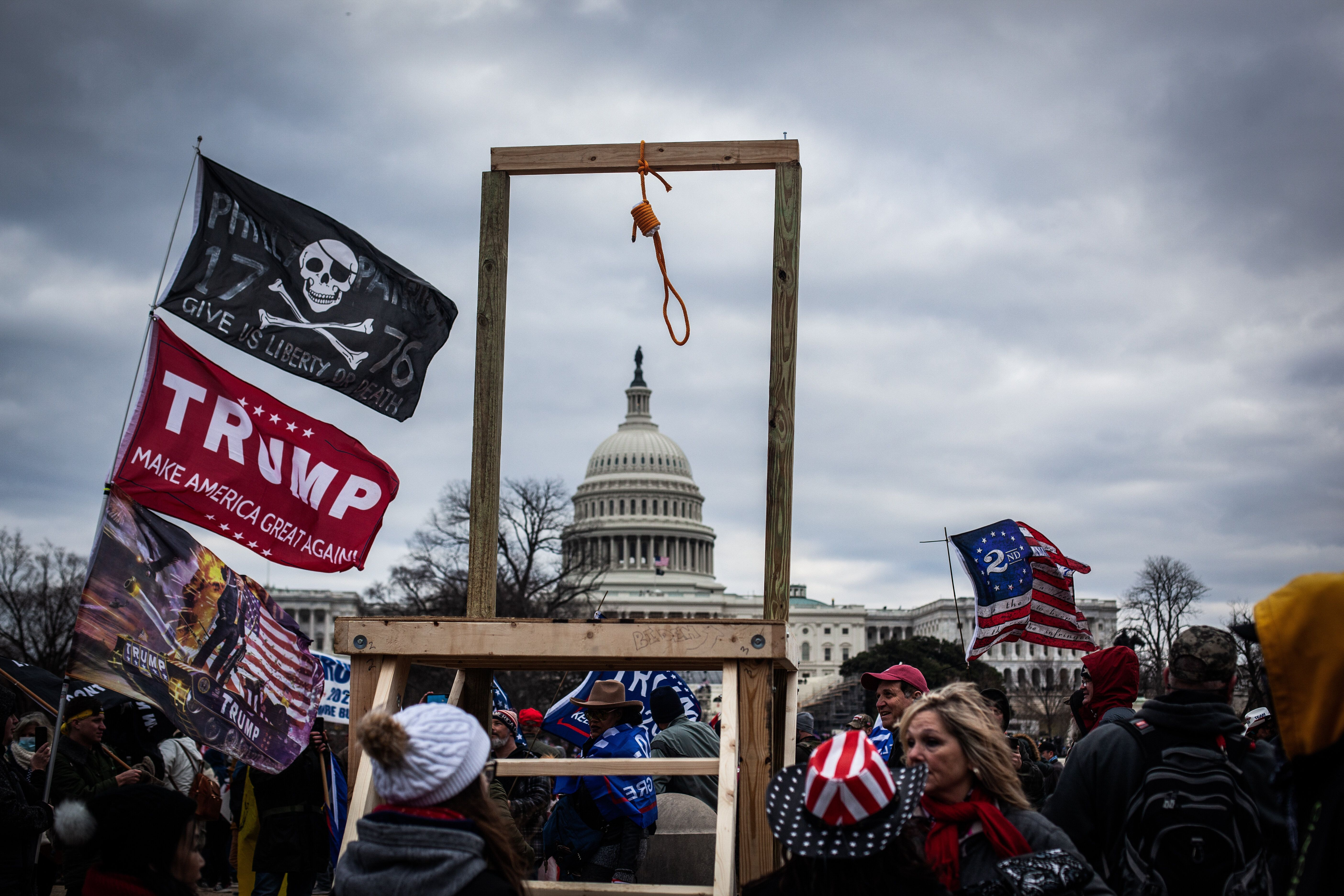 Trump supporters near the U.S. Capitol on Jan. 6, 2021, in Washington, D.C. The protesters stormed the historic building, bre
