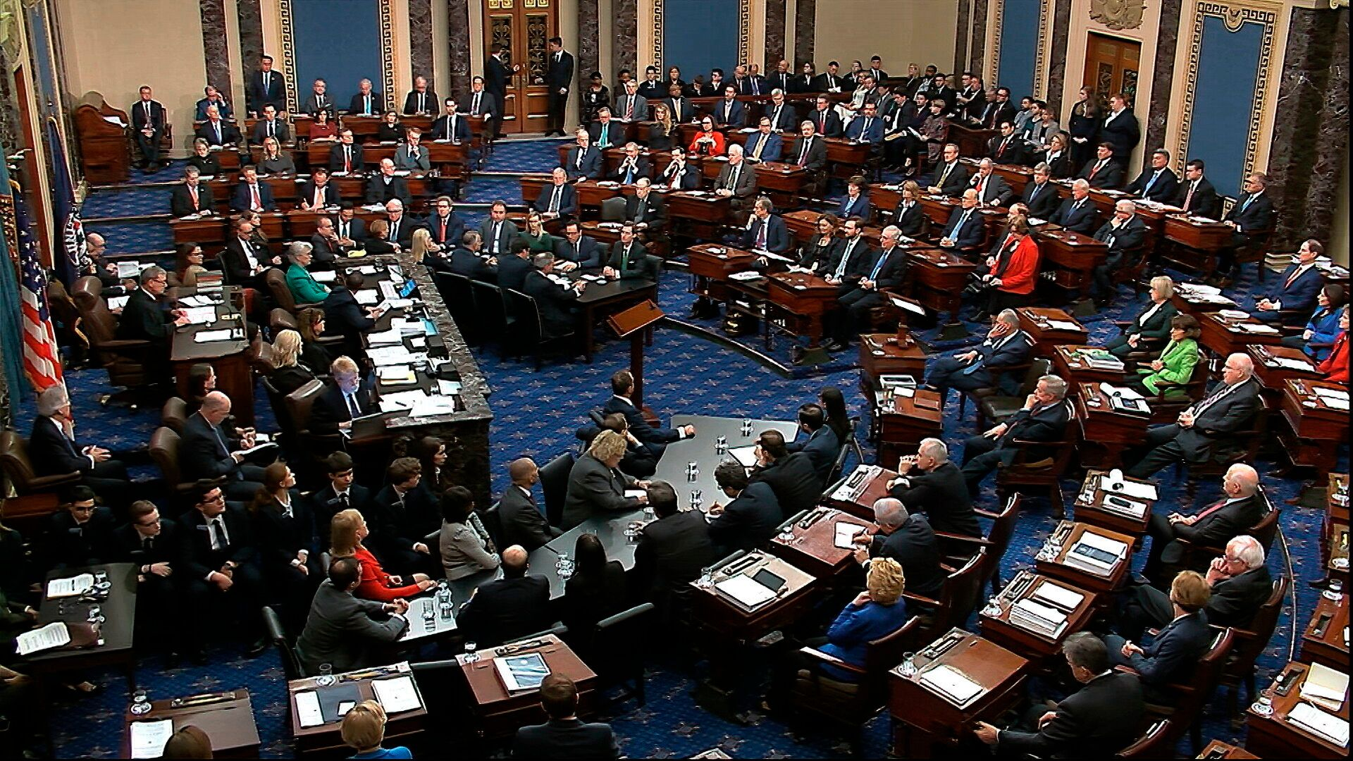 The Senate voting on Trump's first impeachment in February 2020. Sen. Mitt Romney (R-Utah) cast the lone vote to convict by a