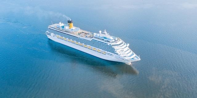 An aerial view of the Costa Magica cruise ship near Saint Petersburg, Russia.