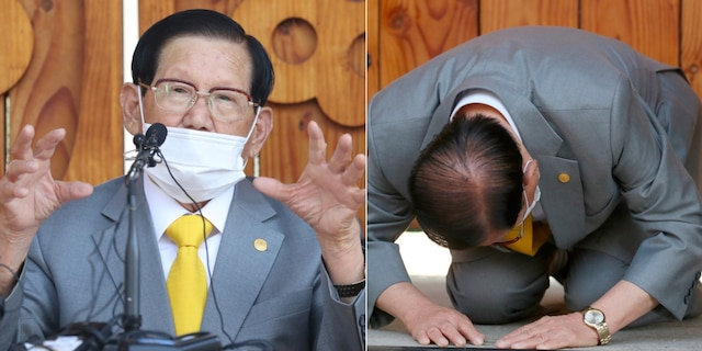 "Lee Man-hee, a leader of Shincheonji Church of Jesus, bows during the press conference in Gapyeong, South Korea, Monday, March 2, 2020. In the hastily arranged news conference Lee, the 88-year-old leader of a religious sect which has the country's largest cluster of infections, bowed down on the ground twice and apologized for causing the ""unintentional"" spread of the disease. (Kim Ju-sung/Yonhap via AP)"