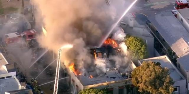 Firefighters battled the blaze in Venice Beach.