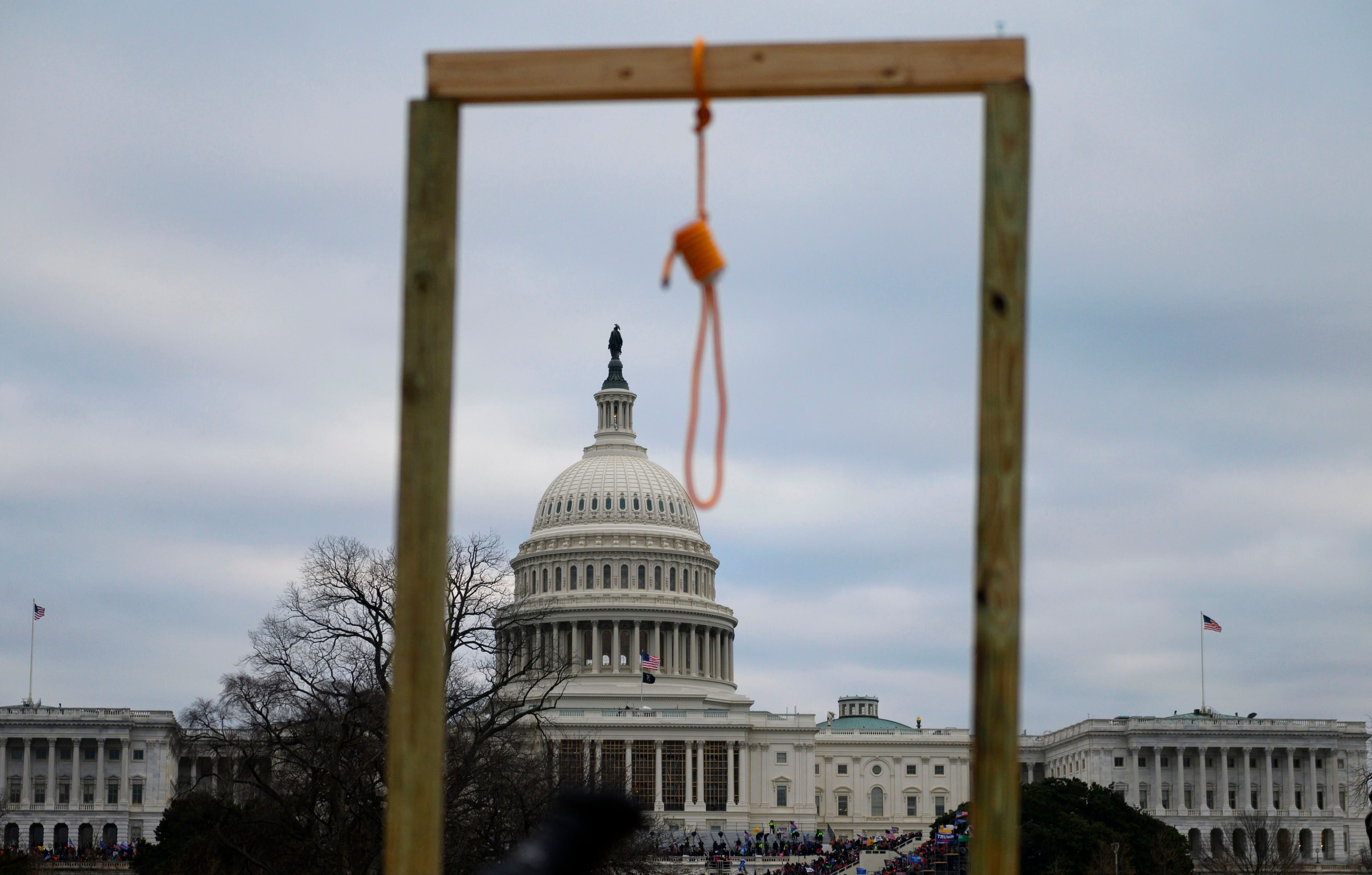 A noose hangs on makeshift gallows as supporters of President Donald Trump riot at the U.S. Capitol on Jan. 6.