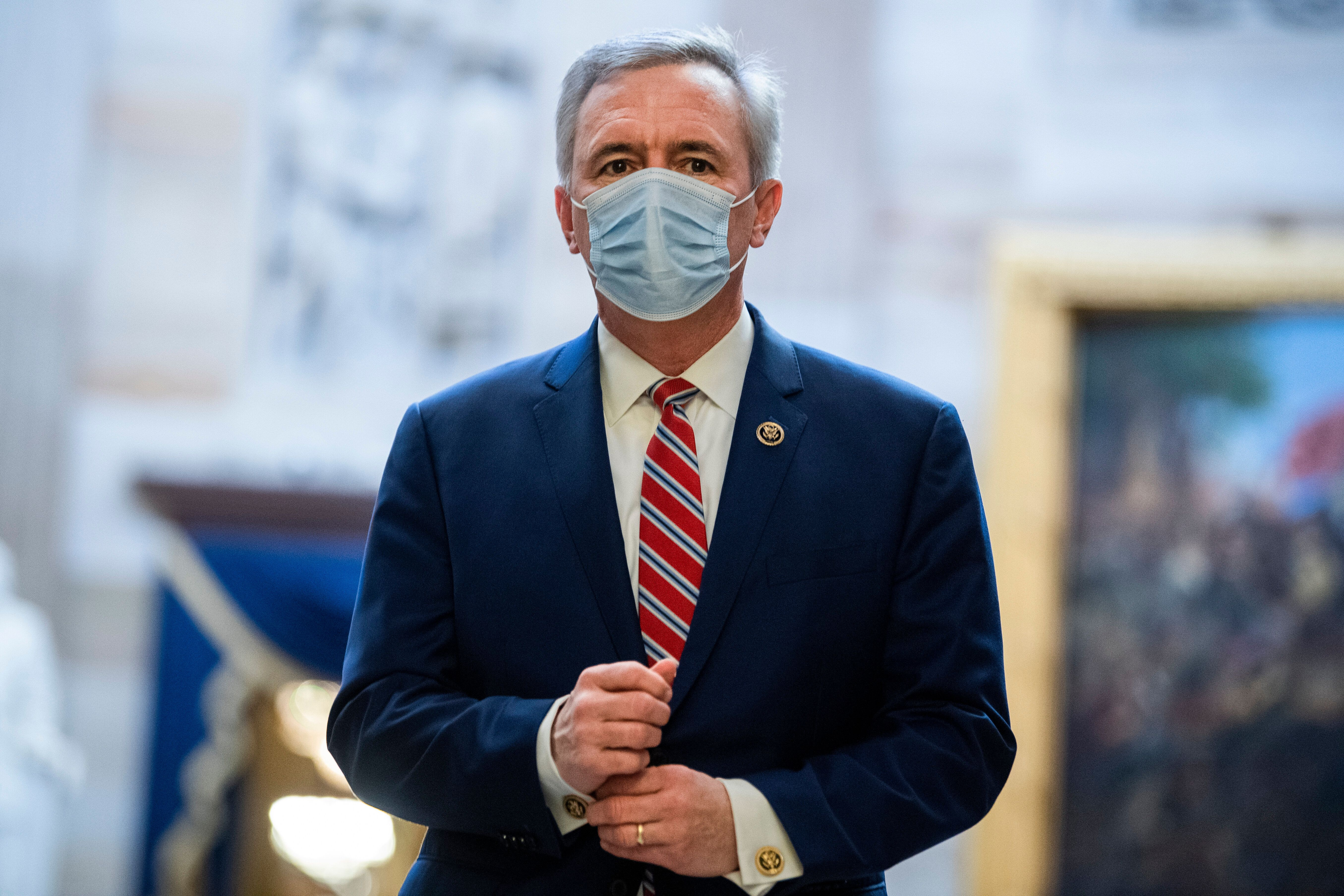 Rep. John Katko before the House voted to impeach President Donald Trump for inciting an insurrection.
