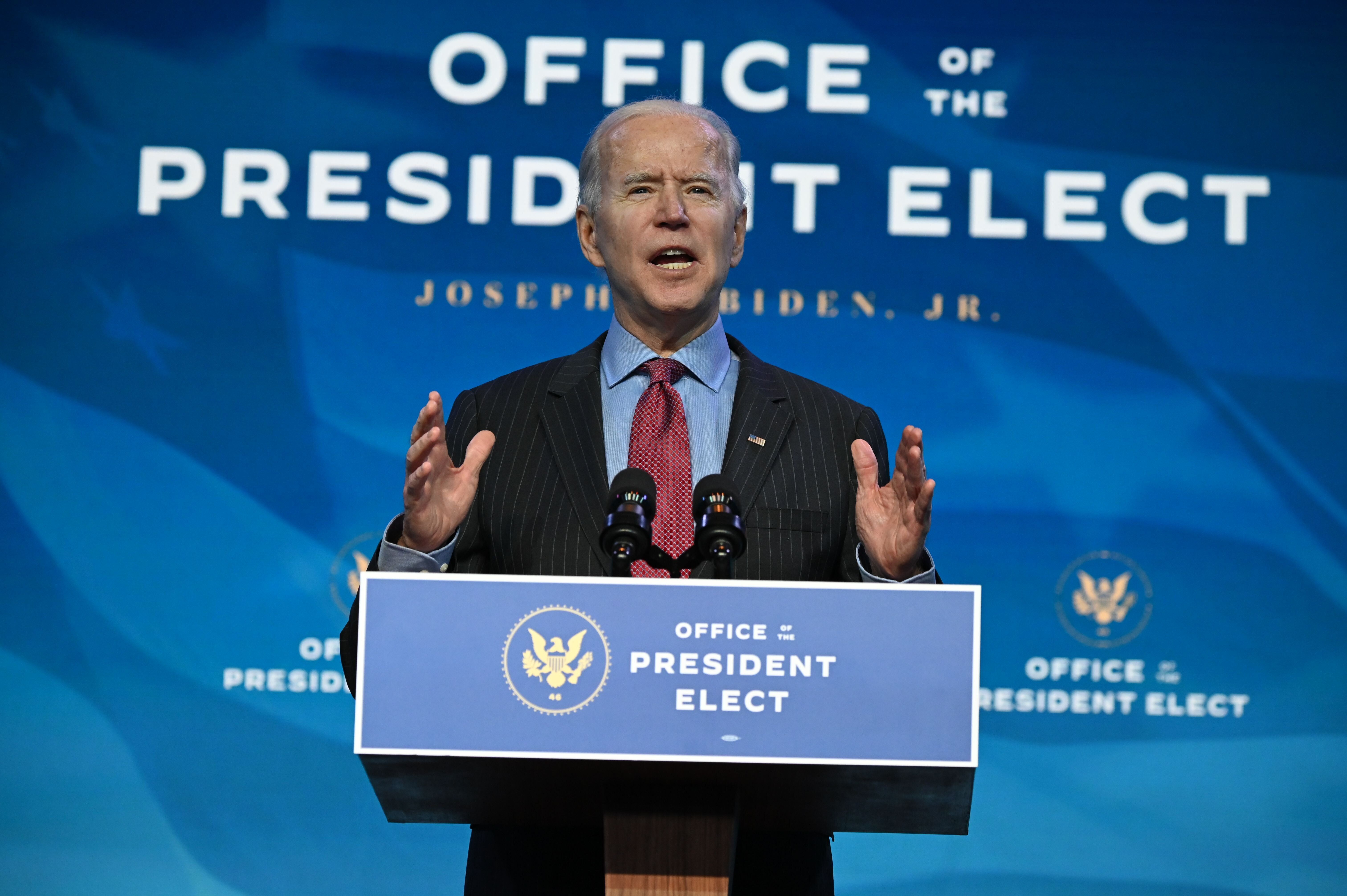 US President-elect Joe Biden speaks at The Queen theater in Wilmington, Delaware on January 8, 2021, to announce key nominees