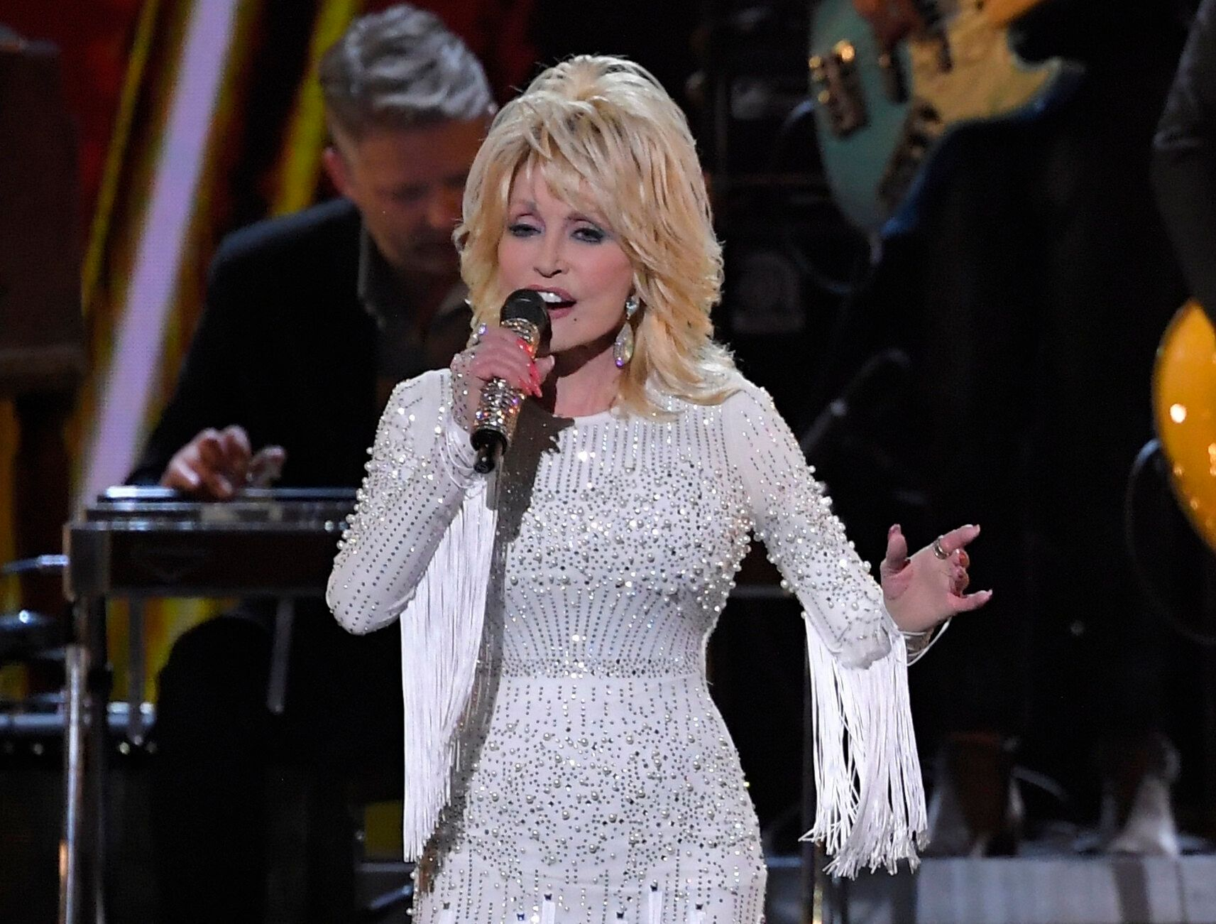 Dolly Parton is seen at the 53rd annual CMA Awards in Nashville, Tenn., in 2019. On Thursday she announced that her younger b
