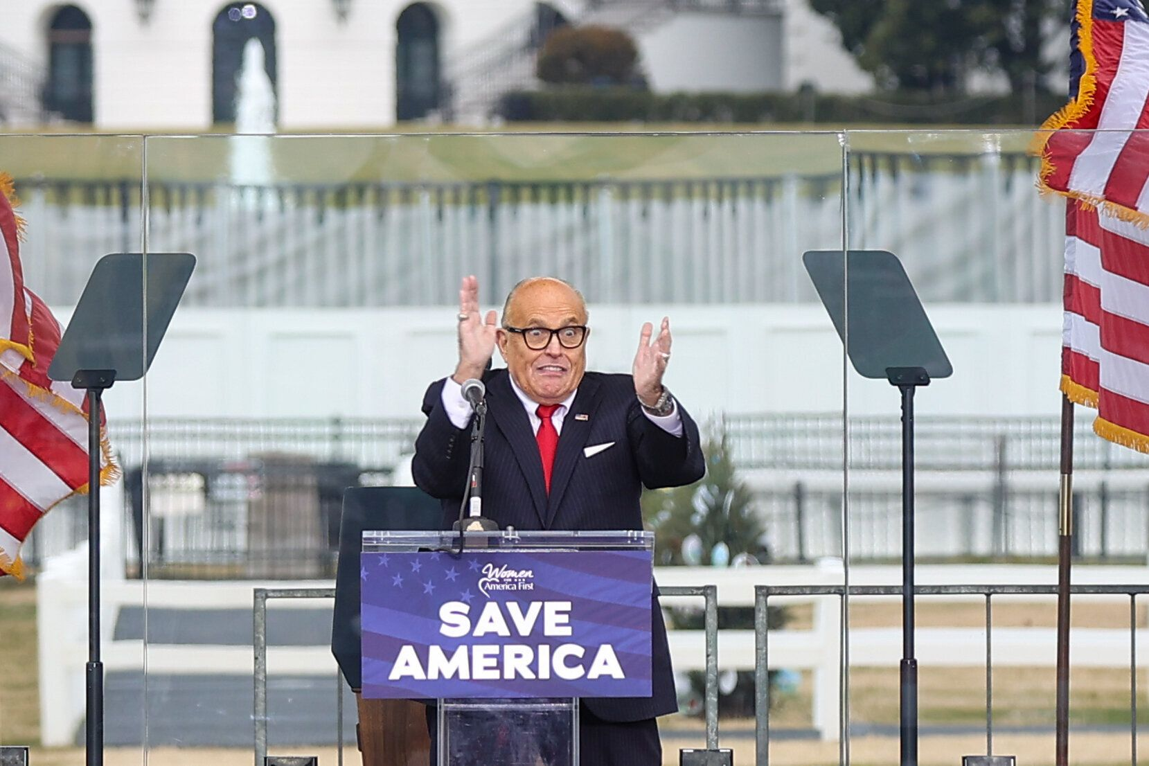 """Rudy Giuliani appeared at the Jan. 6 """"Save America Rally"""" near the White House, which sparked the insurrection at the U.S. Ca"""