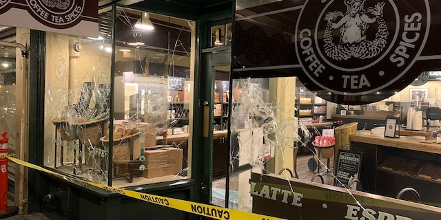 The first Starbucks location was damaged during an anti-Biden protest in Seattle on Wednesday.