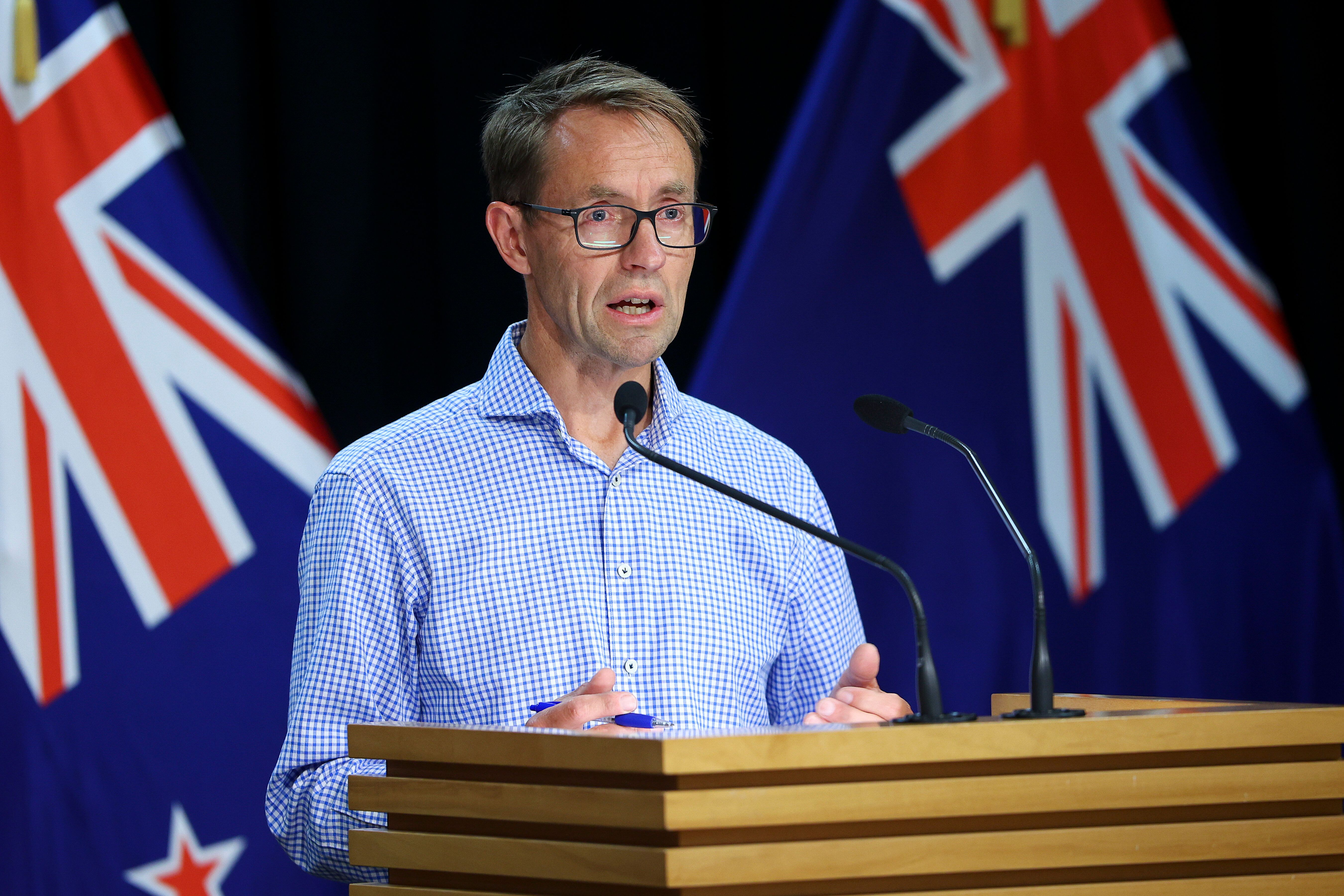 Director-General of Health Dr. Ashley Bloomfield speaks to media during a press conference at Parliament on Jan. 24, 2021, in
