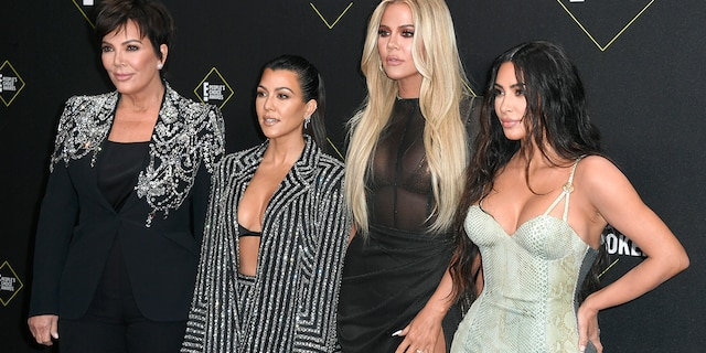 (L-R) Kris Jenner, Kourtney Kardashian, Khloe Kardashian, and Kim Kardashian West attend the 2019 E! People's Choice Awards. The family has signed an exclusive multi-year deal with Hulu after announcing E!'s 'Keeping Up with the Kardashians' is ending after its last season which will debut in March 2021.