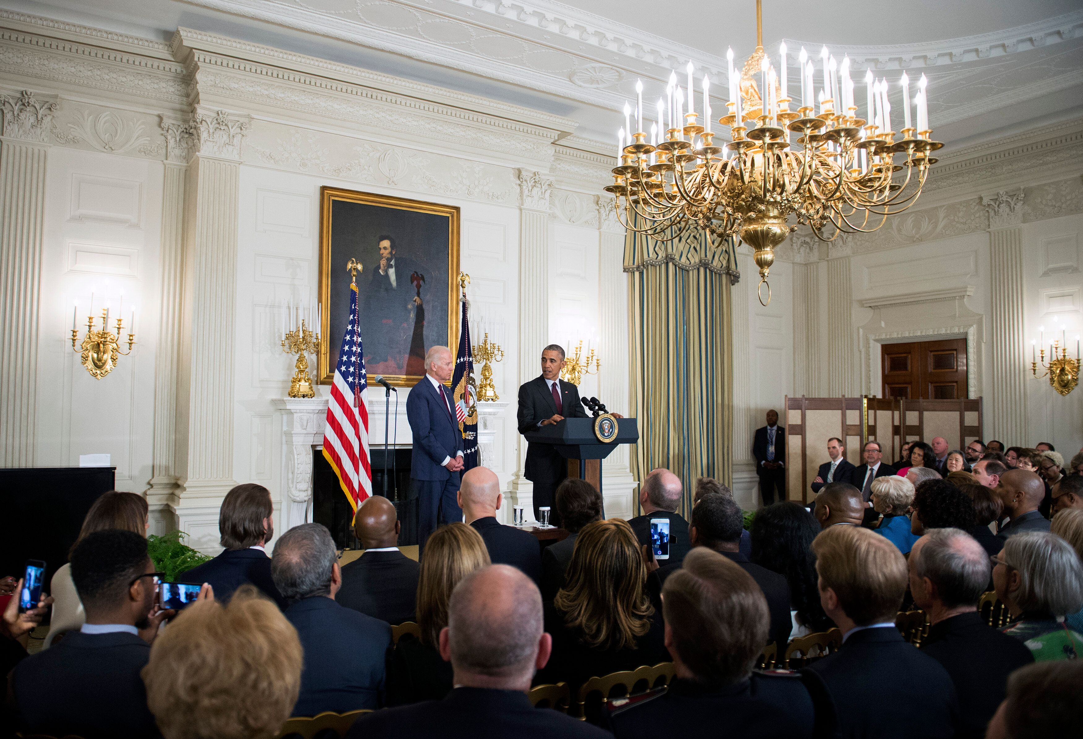 President Barack Obama, joined by then-Vice President Joe Biden, delivers remarks at an Easter Prayer Breakfast at the White