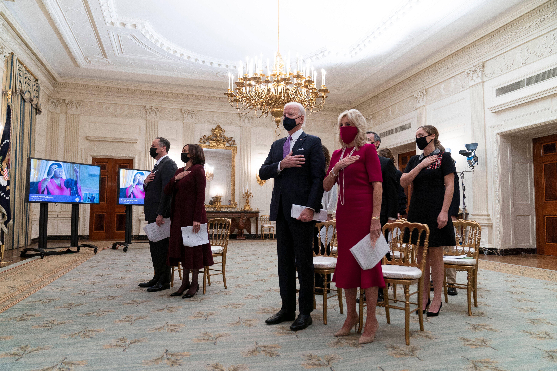 In this Jan. 21, 2021, file photo, Doug Emhoff, left, Vice President Kamala Harris, President Joe Biden, and first lady Jill