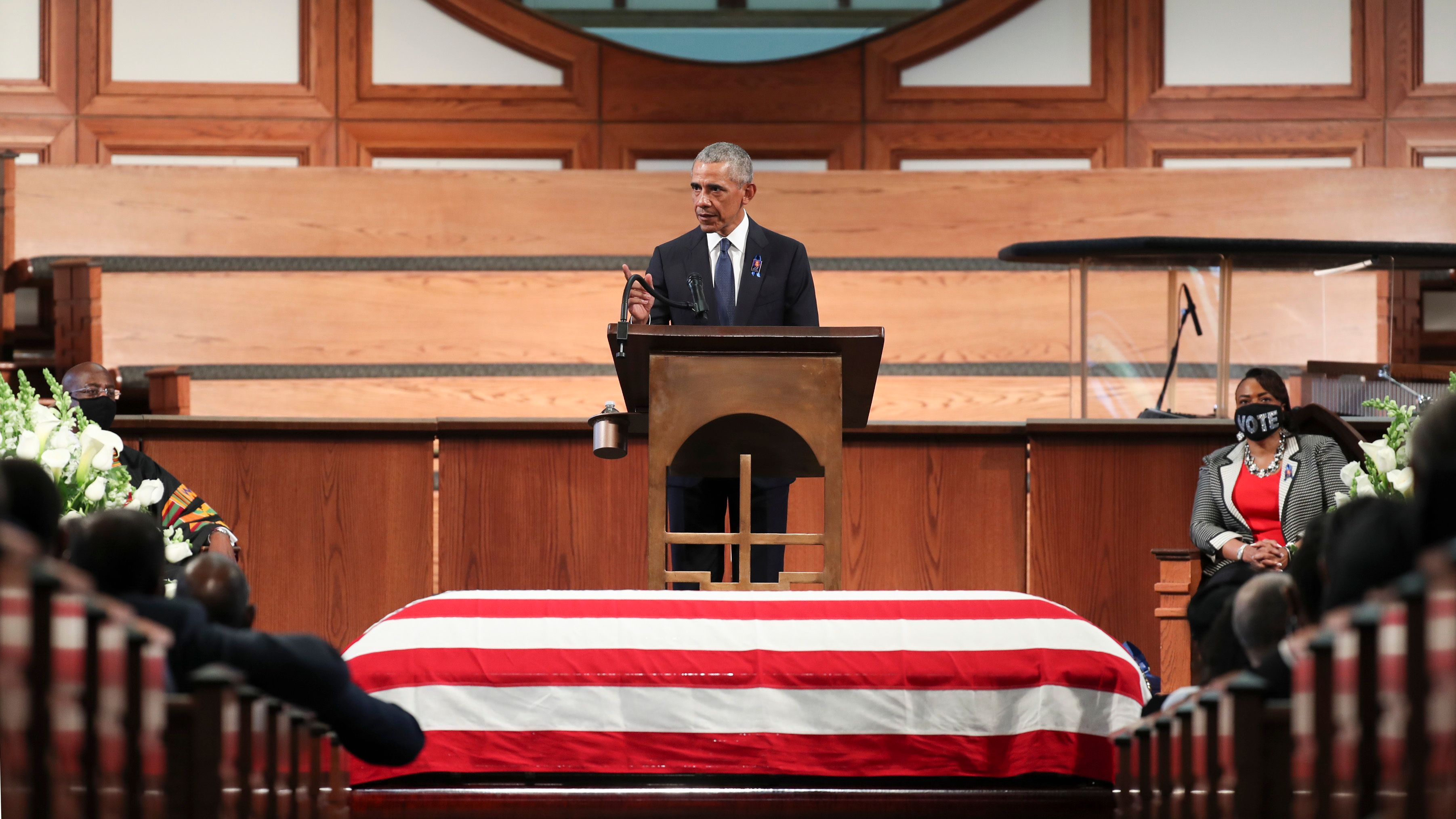 """Former President Barack Obama called the filibuster a """"Jim Crow relic"""" in his eulogy at the funeral service for t"""