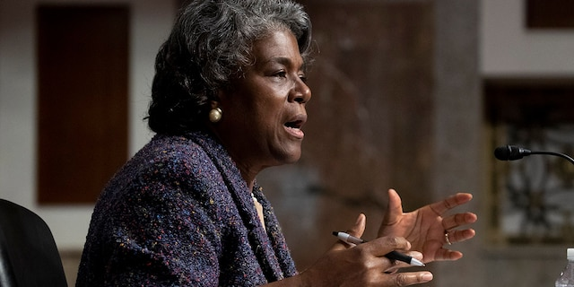 United States Ambassador to the United Nations nominee Linda Thomas-Greenfield testifies during for her confirmation hearing before the Senate Foreign Relations Committee on Capitol Hill, Wednesday, Jan. 27, 2021, in Washington. (Michael Reynolds/Pool via AP)