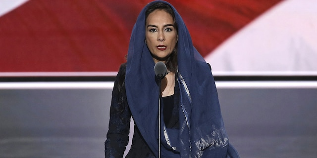 Center for American Liberty founder Harmeet Dhillon delivering the invocation in Punjabi and English at the start of the second session at the Republican National Convention in Cleveland, Ohio, U.S. July 19, 2016.