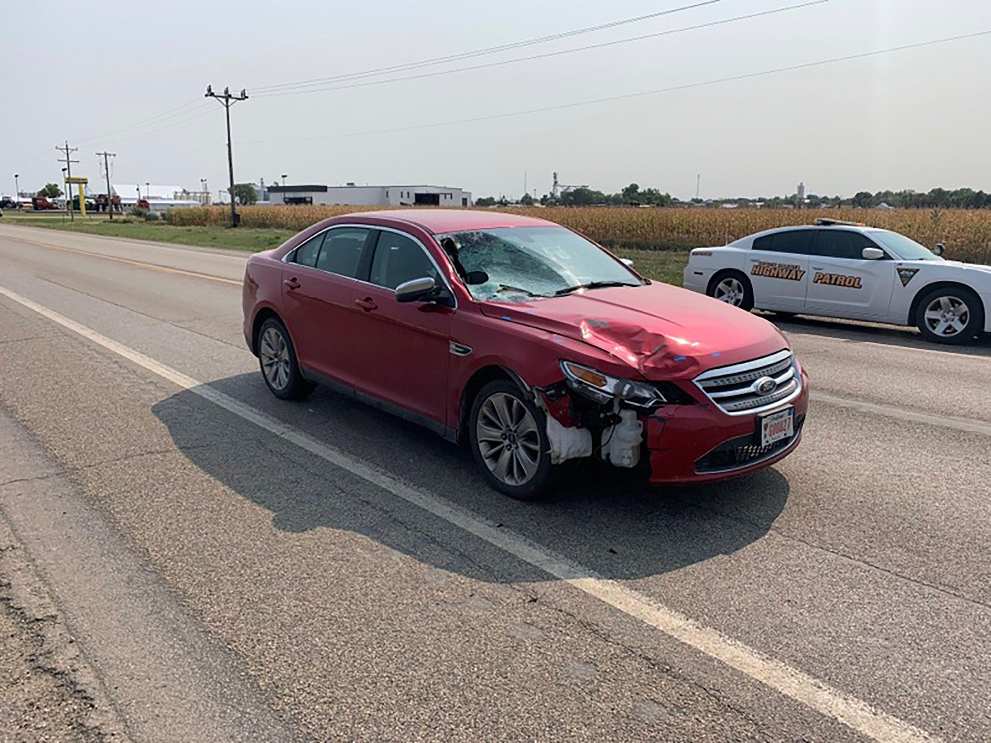 This Sept. 15, 2020 photo provided by the state of South Dakota shows The car that South Dakota Attorney General Jason Ravnsb