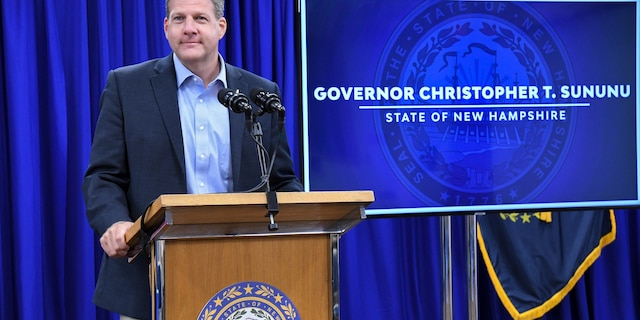 Gov. Chris Sununu of New Hampshire holds a coronavirus pandemic briefing