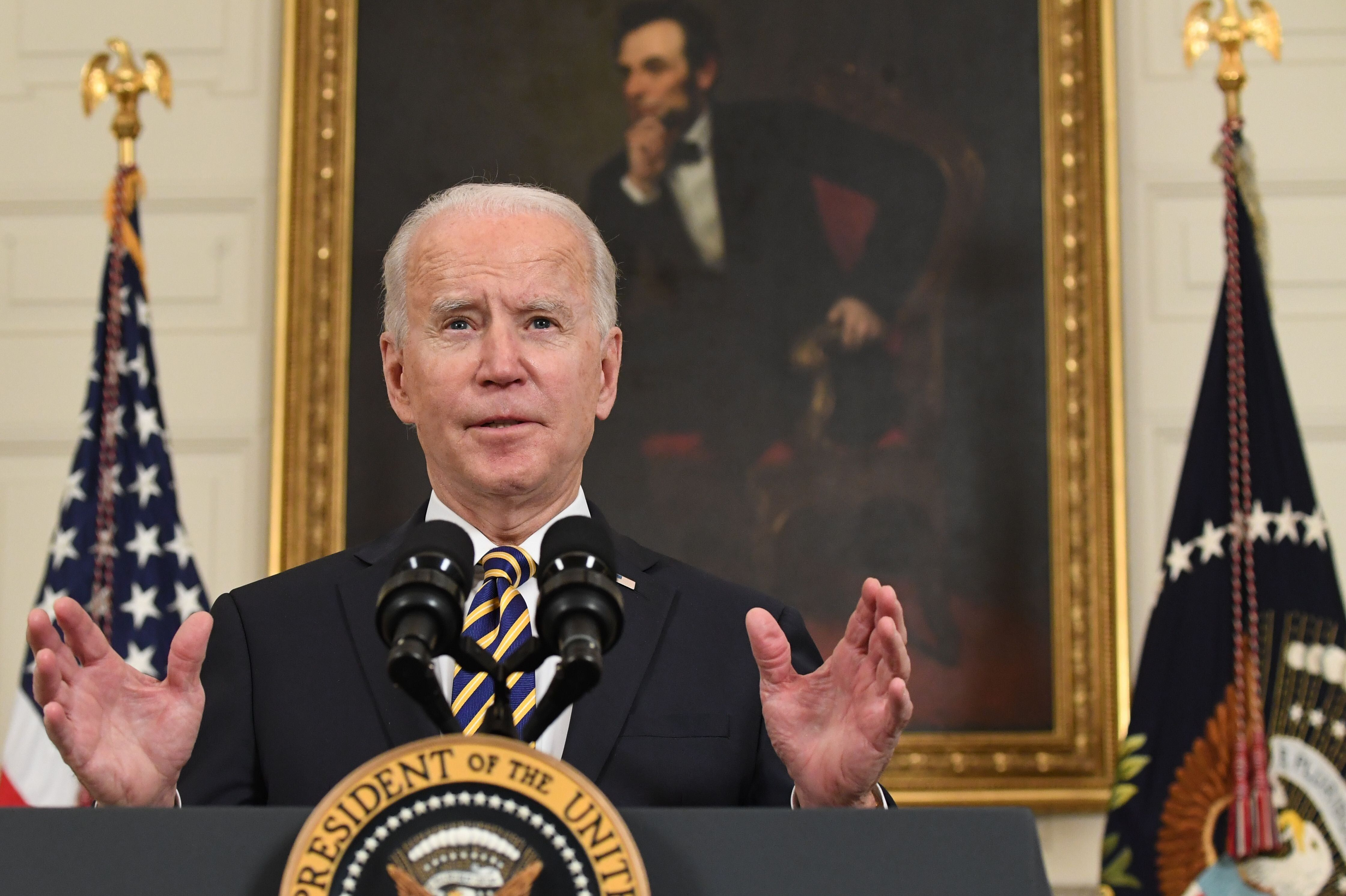 US President Joe Biden speaks before signing an executive order on securing critical supply chains on Feb. 24.