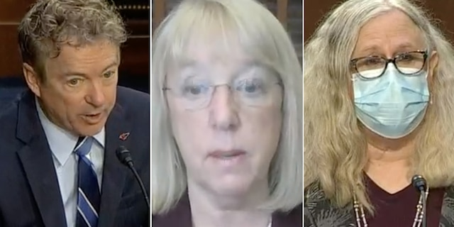 From left to right: Sen. Rand Paul, R-Ky., Sen. Patty Murray,D-Wash., and Dr. Rachel Levine