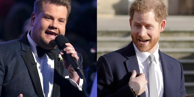 "James Corden, left, scored an interview with Prince Harry that aired early Friday on ""The Late Late Show."""