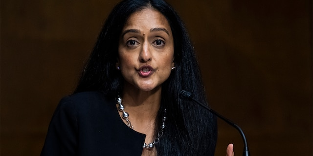Vanita Gupta, president and CEO of The Leadership Conference on Civil & Human Rights, testifies during the Senate Judiciary Committee hearing titled Police Use of Force and Community Relations, in Dirksen Senate Office Building in Washington, D.C., on Tuesday, June 16, 2020. (Tom Williams/CQ-Roll Call, Inc via Getty Images/POOL)