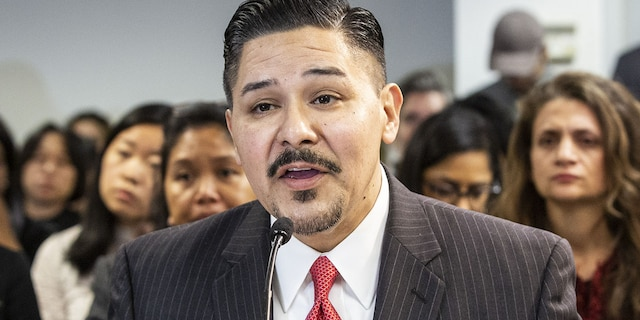 """Richard Carranza, chancellor of the New York City Department of Education, speaks during a public hearing with Bill de Blasio, mayor of New York, not pictured, on school governance and mayoral control in New York, U.S., on Friday, March 15, 2019. De Blasio told MSNBC today that he hasn't precluded seeking the Democratic presidential nomination and says he's a """"social Democrat"""" seeking to redistribute wealth. Photographer: Natan Dvir/Bloomberg via Getty Images"""