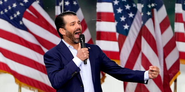 "Donald Trump Jr. speaks Wednesday, Jan. 6, 2021, in Washington, at a rally in support of President Donald Trump called the ""Save America Rally."" (AP Photo/Jacquelyn Martin)"