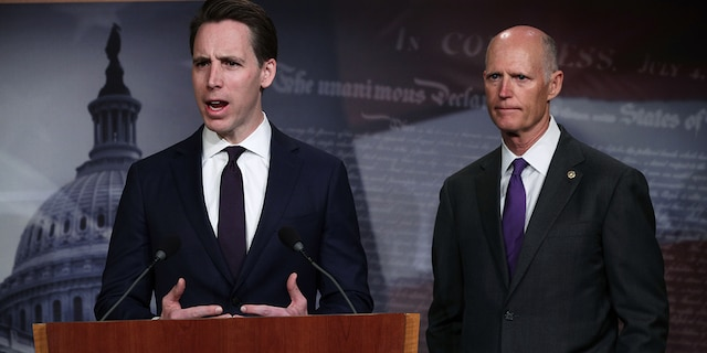 WASHINGTON, DC - APRIL 02: U.S. Sen. Josh Hawley (R-MO) (L) speaks as Sen. Rick Scott (R-FL) (R) listens during a news conference at the U.S. Capitol April 2, 2019 in Washington, DC. Scott and Hawley in conversations with Fox News on Friday both panned the idea of a GOP civil war. (Photo by Alex Wong/Getty Images)