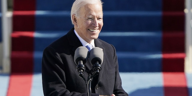 President Joe Biden speaks during the 59th Presidential Inauguration at the U.S. Capitol in Washington, Wednesday, Jan. 20, 2021. Biden has said he's committed to bipartisanship, but Hawley told Fox News he hasn't seen much of it from the president. (AP Photo/Patrick Semansky, Pool)