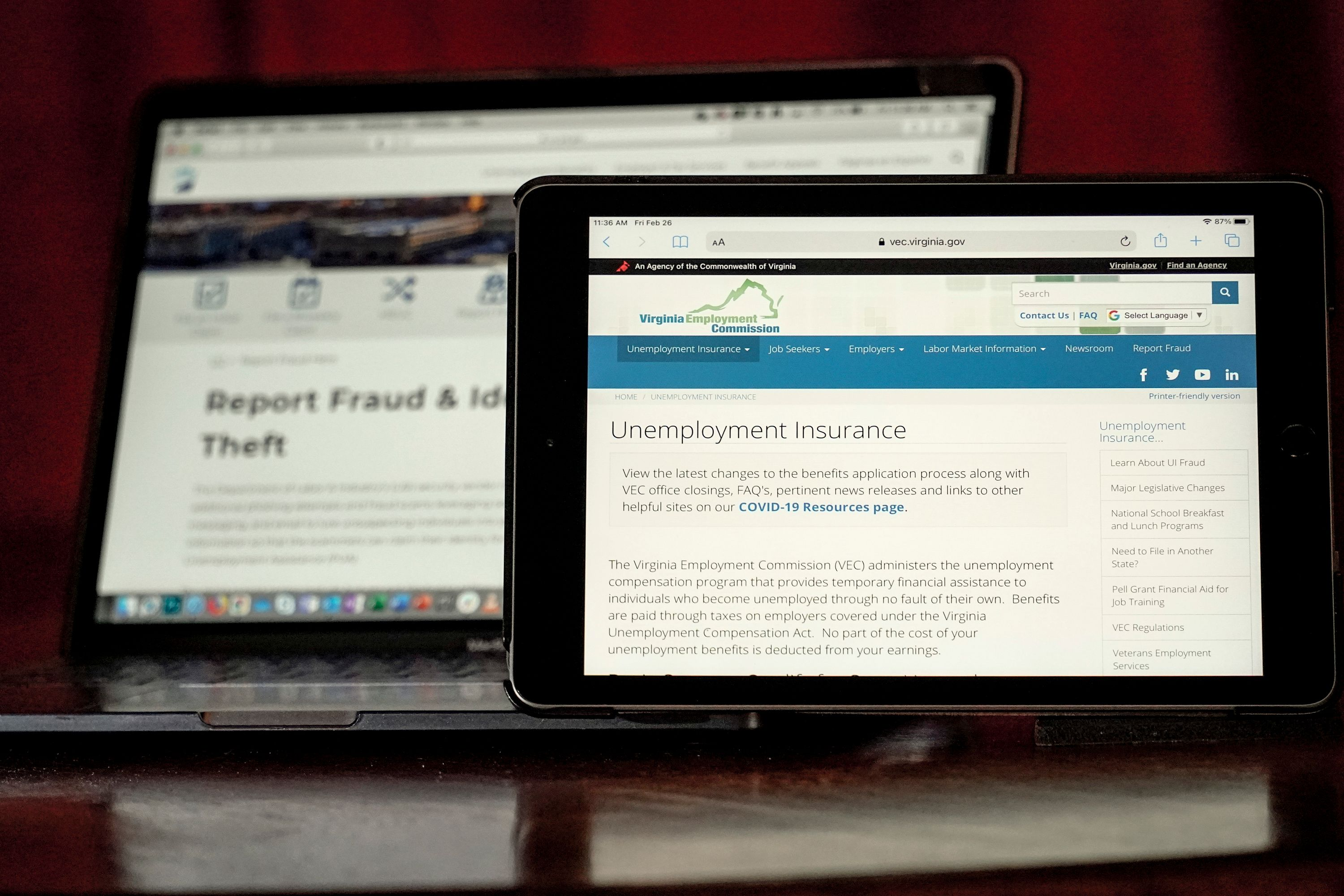 Web pages used to show information for collecting unemployment insurance in Virginia, right, and reporting fraud and identity