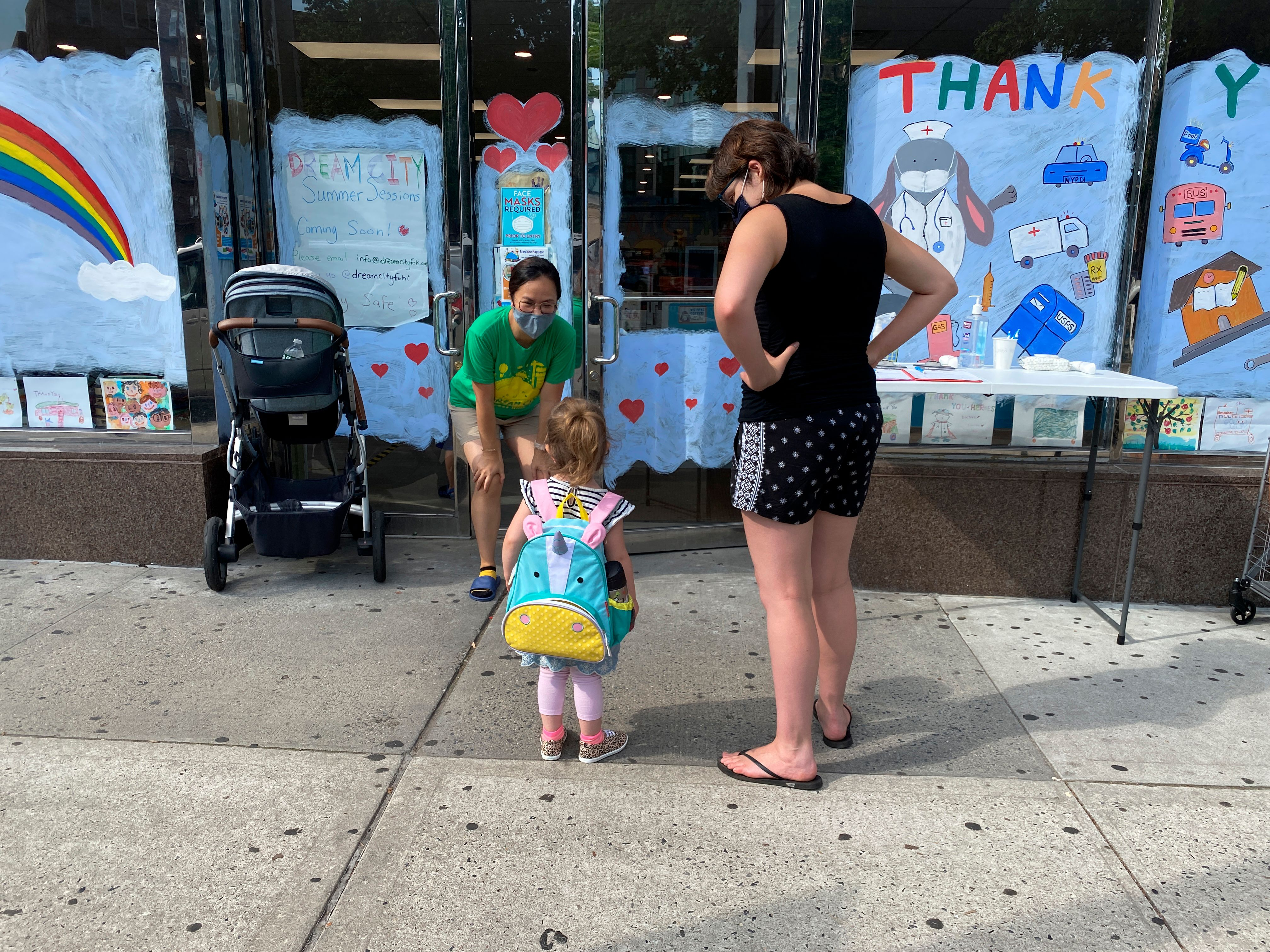 Day care drop-off in the Queens borough of New York City after phase 4 reopening during the coronavirus pandemic.