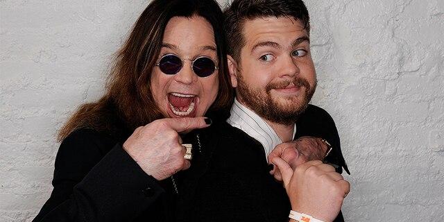 Ozzy Osbourne and son, producer Jack Osbourne visit the Tribeca Film Festival 2011 portrait studio on April 25, 2011, in New York City.
