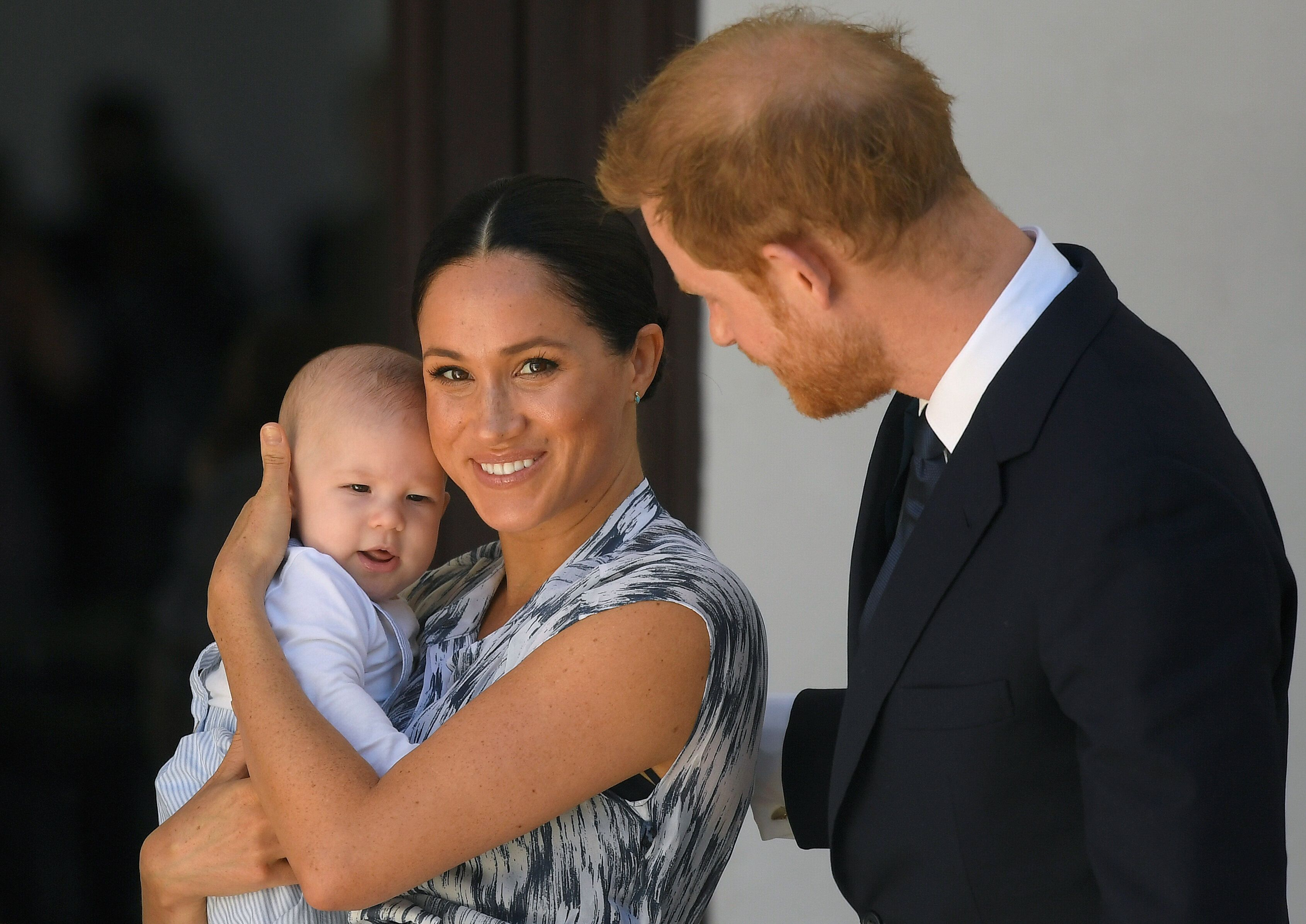 The Duke and Duchess of Sussex and their baby son Archie Mountbatten-Windsor at a meeting with Archbishop Desmond Tutu during