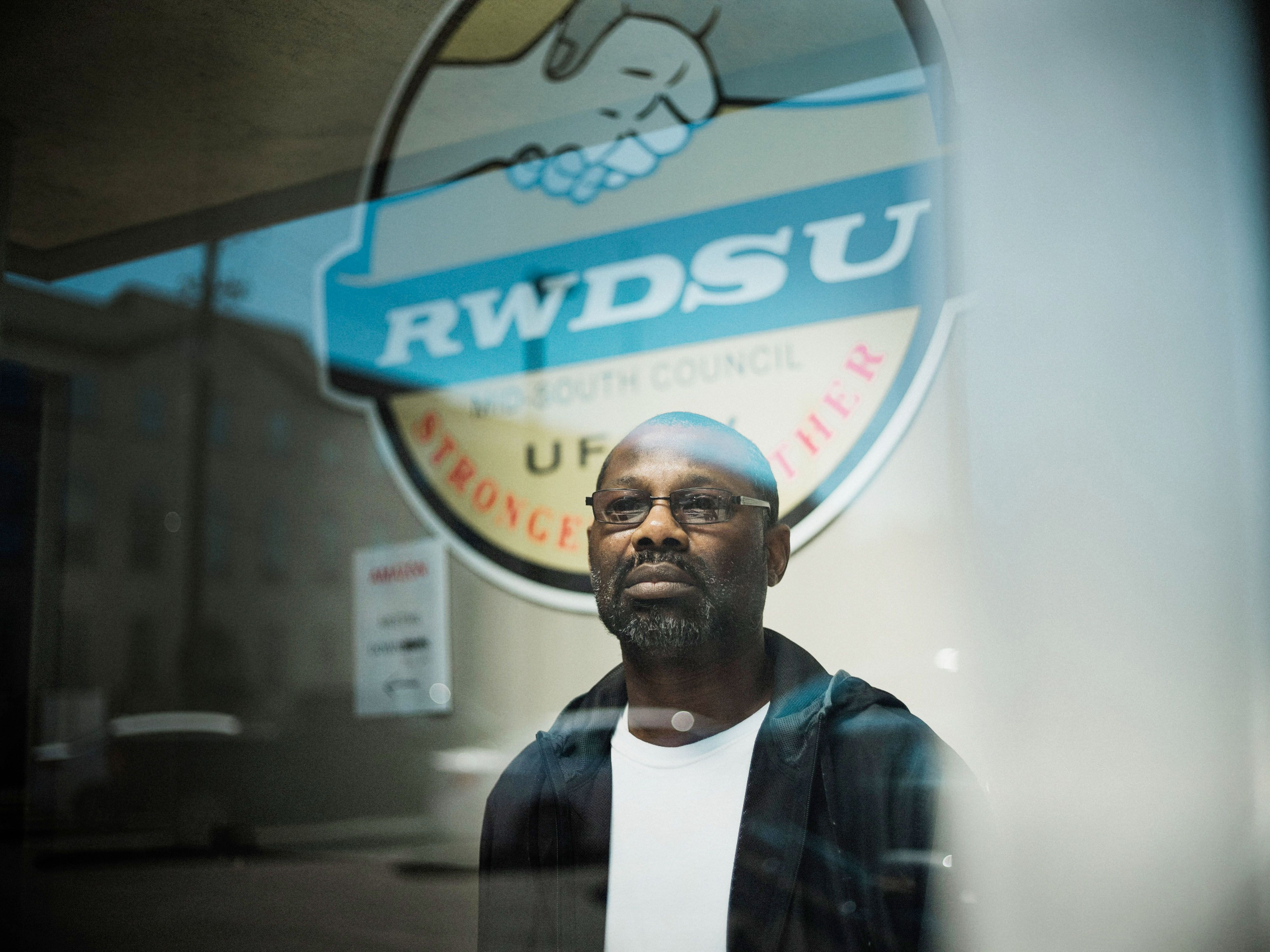 Darryl Richardson, one of the organizers working to unionize his Amazon warehouse, at theRetail, Wholesale and Departme