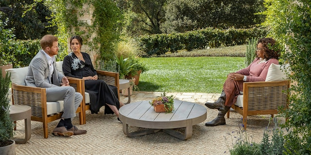This image provided by Harpo Productions shows Prince Harry, from left, and Meghan, The Duchess of Sussex, in conversation with Oprah Winfrey.