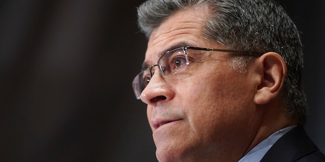 Xavier Becerra speaks during his confirmation hearing to be Secretary of Health and Human Services before the Senate Health, Education, Labor and Pensions Committee, Tuesday, Feb. 23, 2021 on Capitol Hill in Washington. (Leigh Vogel/Pool via AP)