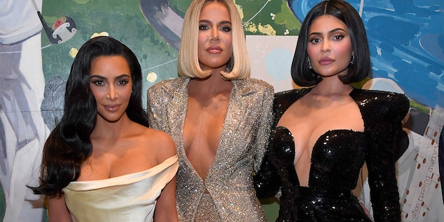 (L-R) Kim Kardashian West, Khloe Kardashian, and Kylie Jenner attend Sean Combs 50th Birthday Bash presented by Ciroc Vodka on December 14, 2019, in Los Angeles, California.