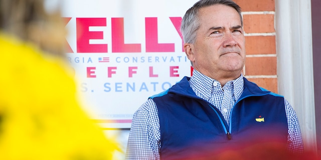Rep. Jody Hice, R-Ga., appears at a rally with Sen. Kelly Loeffler, R-Ga., who is running for reelection, and former ambassador to the United Nations Nikki Haley, at Walton County Historic Courthouse in Monroe, Ga., on Oct. 30, 2020. (Photo By Tom Williams/CQ-Roll Call, Inc via Getty Images)