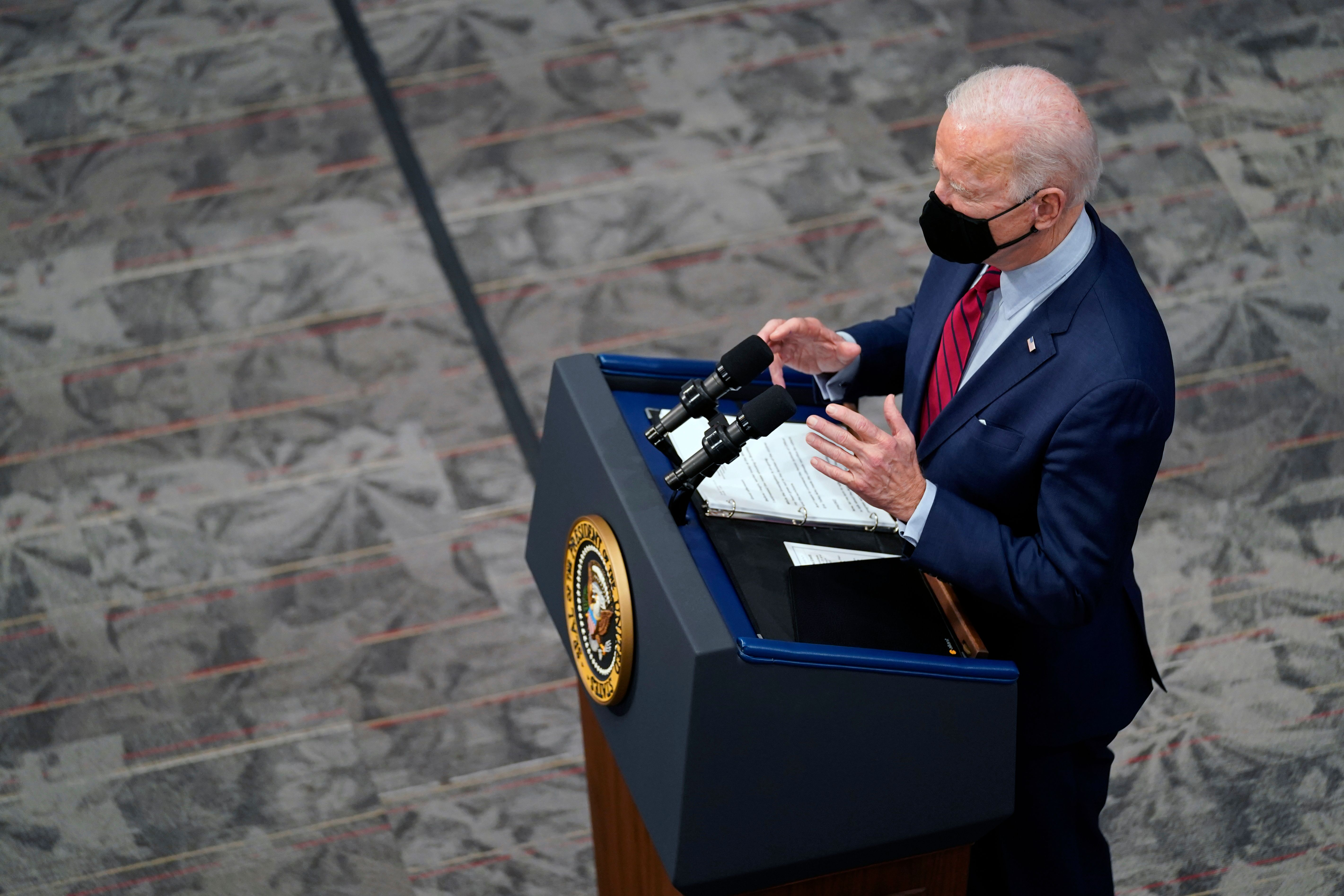 President Joe Biden speaks after a tour of the James Cancer Hospital and Solove Research Institute at The Ohio State Universi