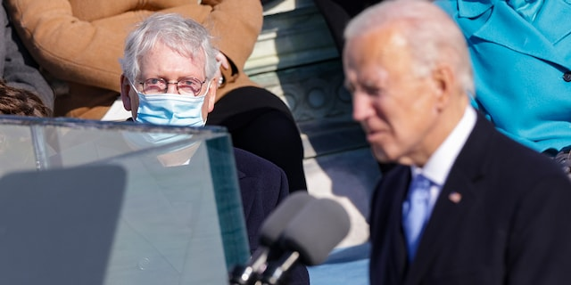 Senate Minority Leader Mitch McConnell, R-Ky., looks on as U.S. President Biden delivers his inaugural address on the West Front of the U.S. Capitol on Jan. 20, 2021, in Washington, D.C. During the inauguration ceremony Biden became the 46th president of the United States. (Alex Wong/Getty Images)