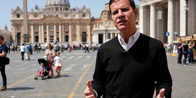 In this April 24, 2018 file photo, clergy sex abuse survivor and victim's advocate Juan Carlos Cruz, from Chile, is interviewed by The Associated Press, outside the Vatican's St. Peter's Square, in Rome. (AP Photo/Andrew Medichini, file)