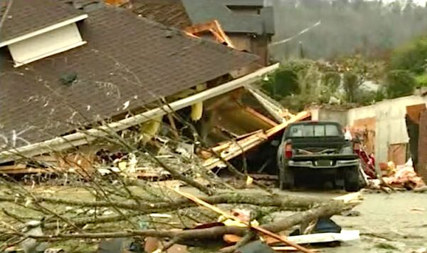 Damage from tornadoes that hit Alabama on March 25, 2021.