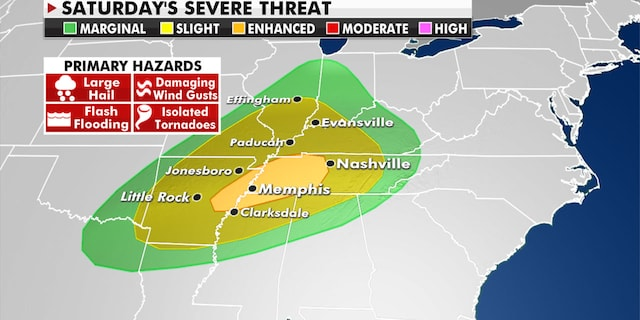 A new round of strong to severe storms will hit the Tennessee Valley on Saturday (Fox News)