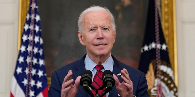 President Joe Biden speaks about the shooting in Boulder, Colorado, Tuesday, March 23, 2021, in the State Dining Room of the White House in Washington. (AP Photo/Patrick Semansky)
