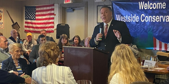 Former Secretary of State Mike Pompeo speaks at a breakfast hosted by the Westside Conservative Club in Urbandale, Iowa, on March 26, 2021.