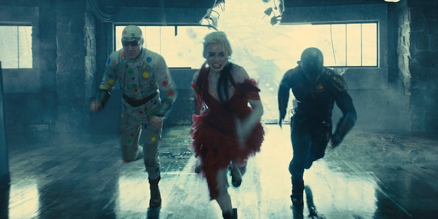 David Dastmalchian, Margot Robbie and Idris Elba in 'The Suicide Squad,' due to hit theaters and HBO Max on Aug. 6.